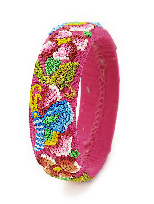 Magenta-Multicolored Hand-Embroidered Bangle