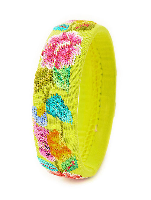 Yellow-Multicolored Hand-Embroidered Bangle