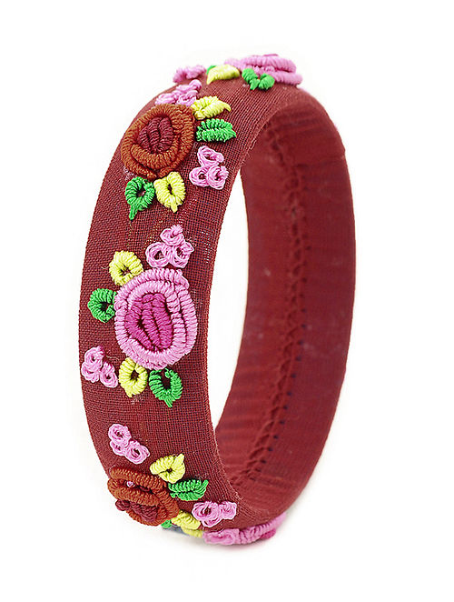 Maroon-Multicolored Hand-Embroidered Bangle