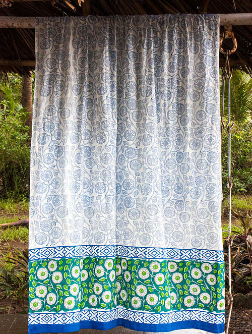 Seher Hand-block Printed Cotton Curtain with Border