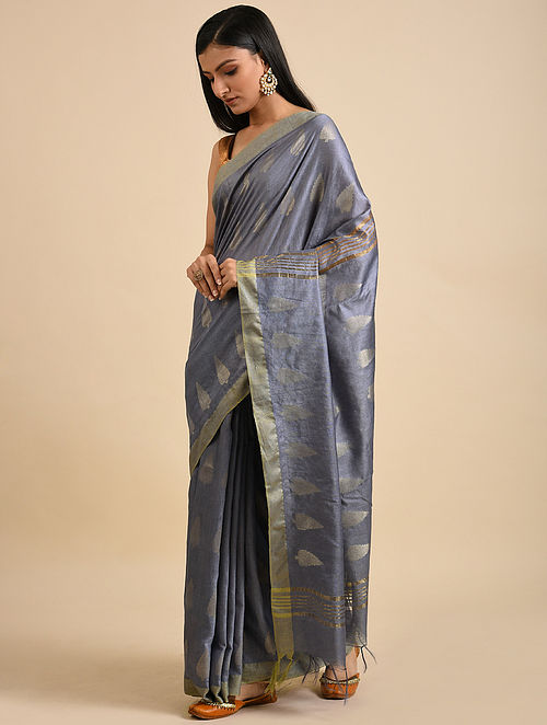 Grey Handwoven Kota Silk Saree