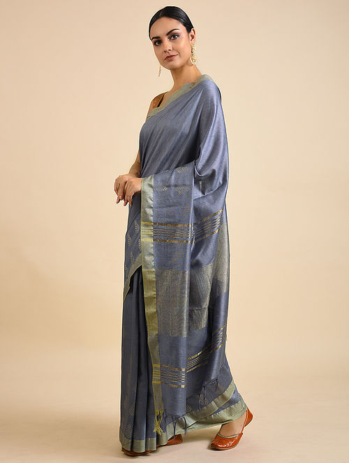 Grey Handwoven Kota Silk Saree