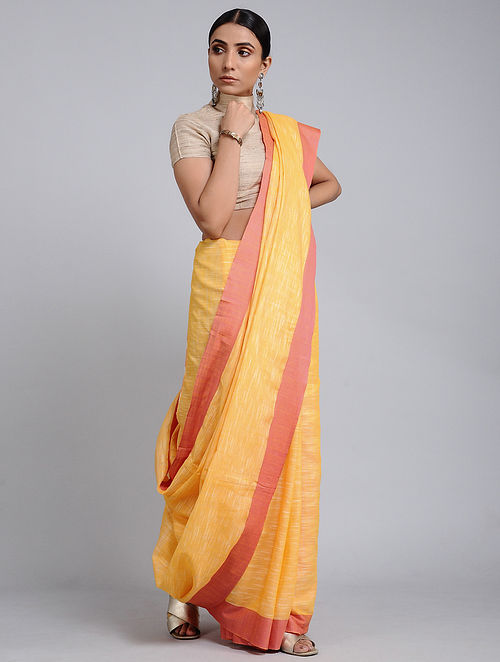 Yellow Handwoven Cotton Saree with Tassels