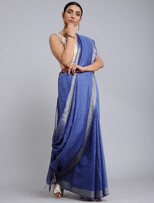 Blue Handwoven Kota Silk and Linen Dobby Saree with Zari Border