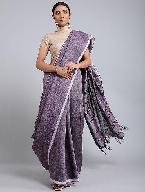 Purple-Black Handwoven Linen saree