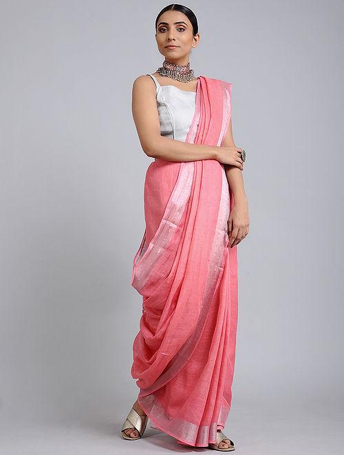 Pink Handwoven Linen Saree with Zari Border