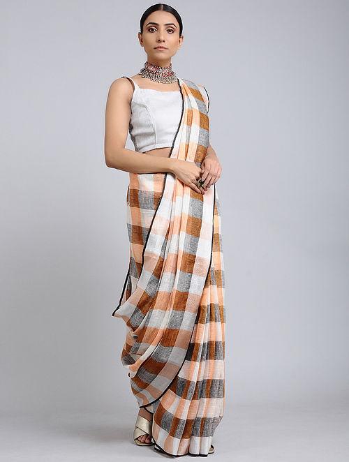 Brown-Peach Handwoven Linen Check saree