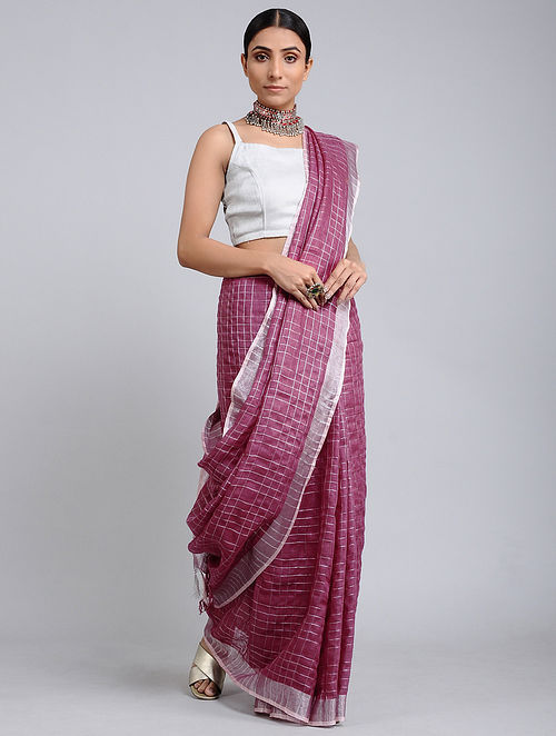 Pink Handwoven Linen Check Saree with Zari Border