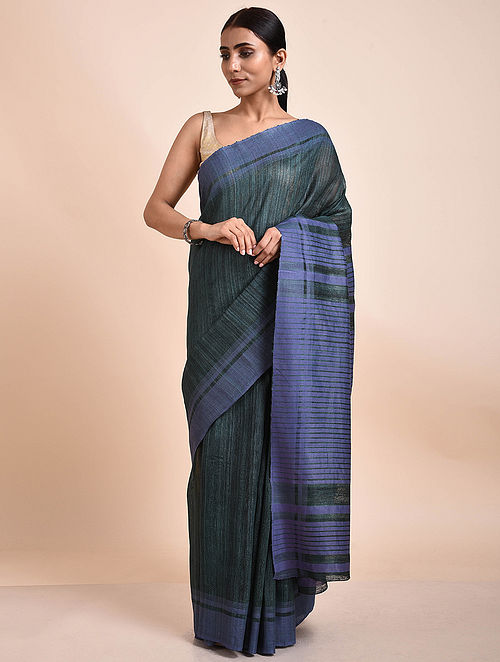 Grey-Blue Handwoven Tussar Ghicha Silk Saree
