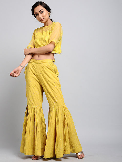 f0b370b32f Yellow Handwoven Organic Dyed Handloom Cotton Anuradha Crop Top