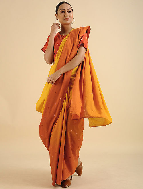 Yellow-Orange Handwoven Hand Embroidered Cotton Mul Saree