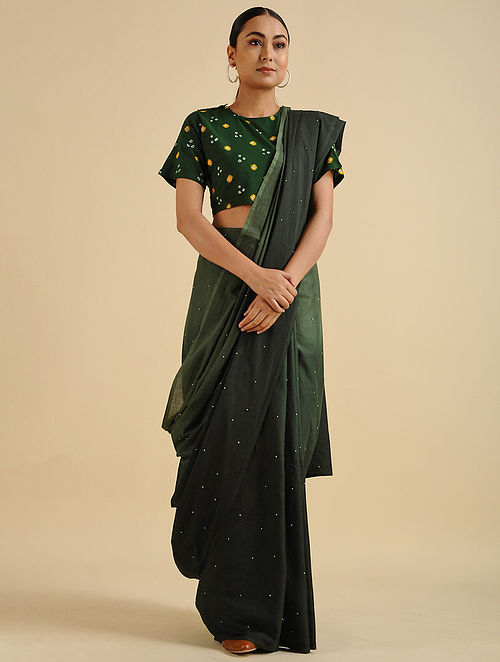 Green Handwoven Hand Embroidered Cotton Mul Saree