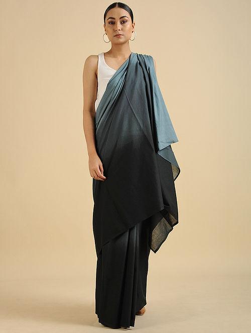 Black-Grey Handwoven Cotton Mul Saree