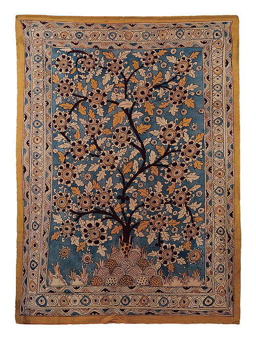Indigo-Multicolor Cotton Hand Painted Kalamkari Wall Hanging 46in x 32.5in