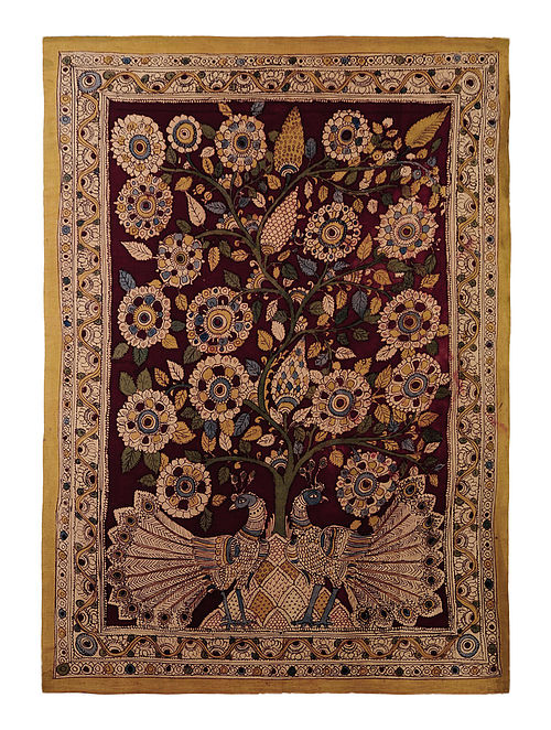 Beige-Multicolor Cotton Hand Painted Kalamkari Wall Hanging 33in x 46in