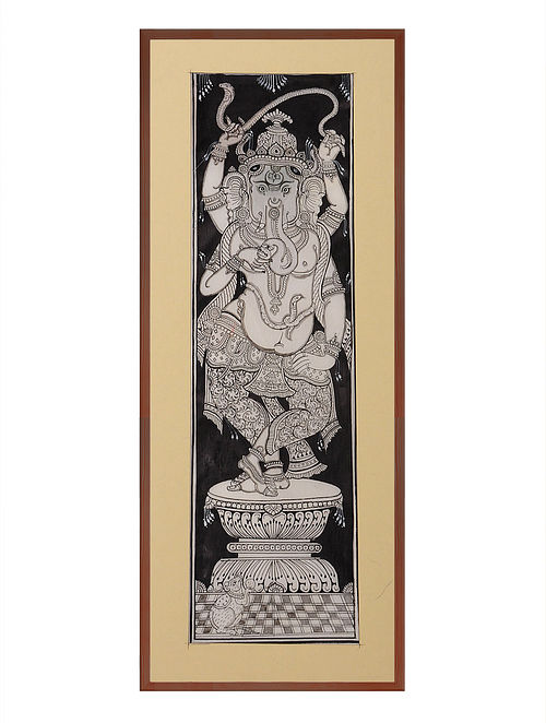 Ganesha Pattachitra on Patta 18.5in x 8.5in