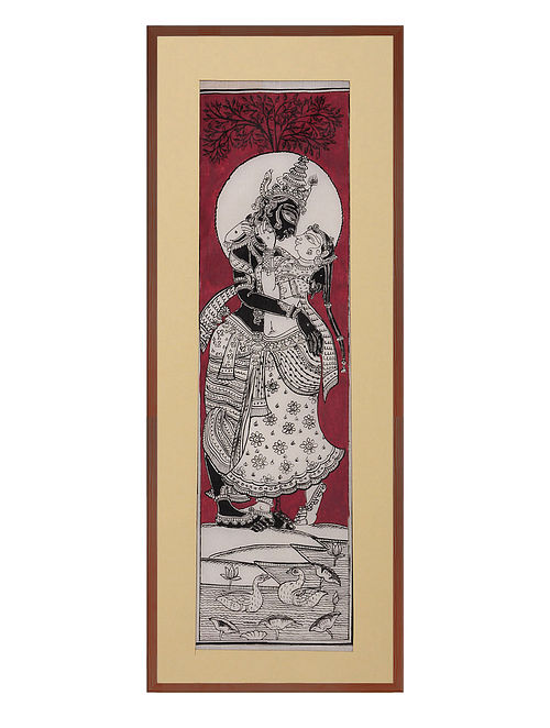 Radha Krishna Pattachitra on Silk 18.5in x 8.2in