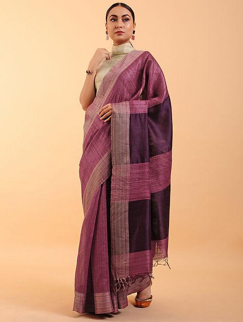 Wine Handwoven Tussar Silk Saree
