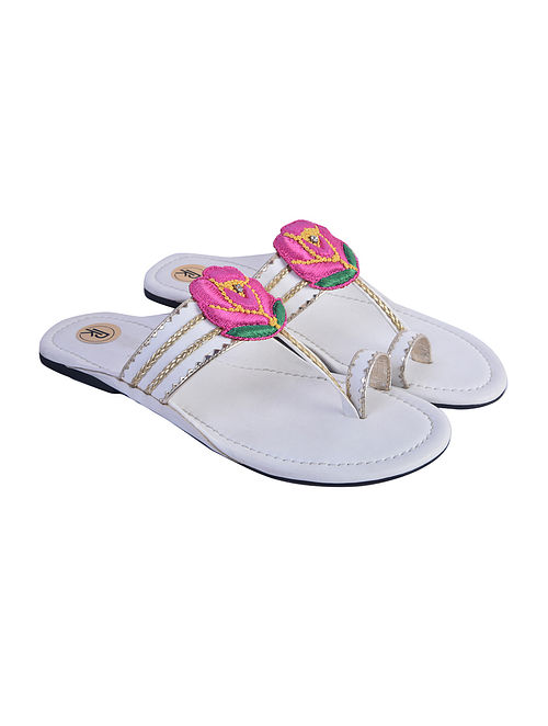 White Hand Embroidered Faux Leather Kolhapuri Flats