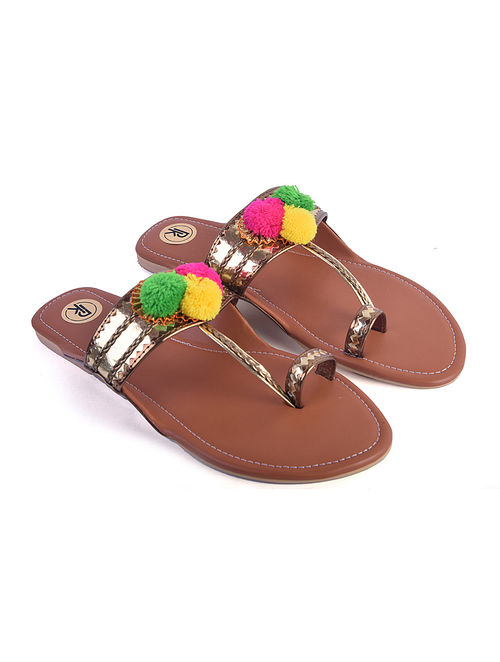 Brown Hand Embroidered Faux Leather Kolhapuri Flats