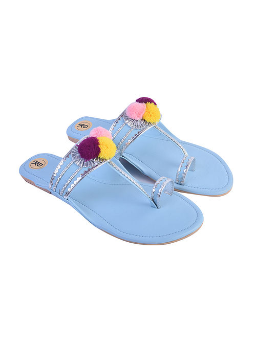 Light Blue Hand Embroidered Faux Leather Kolhapuri Flats
