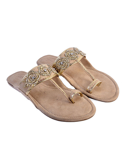 Beige Suede and Hand Embroidered Faux Leather Kolhapuri Flats