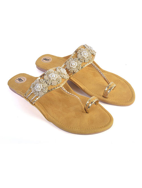 Yellow Suede and Hand Embroidered Faux Leather Kolhapuri Flats