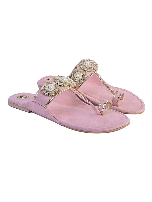 Peach Suede and Hand Embroidered Faux Leather Kolhapuri Flats