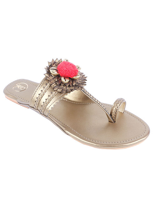 Copper Handcrafted Leather Kolhapuri Flats