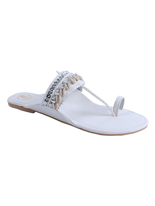 White Hand Embroidered Leather Kolhapuri Flats with Shells