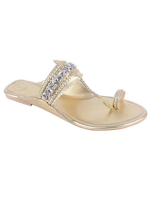 Gold Hand Embroidered Leather Kolhapuri Flats with Embellishments