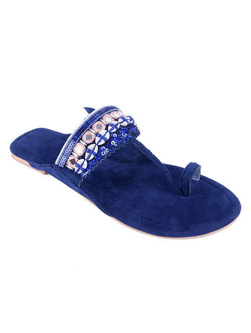 Blue Hand Embroidered Suede Kolhapuri Flats with Mirrors