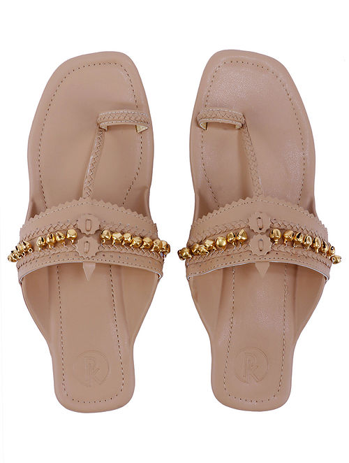 Tan Handcrafted Leather Kolhapuri Flats with Ghungroo