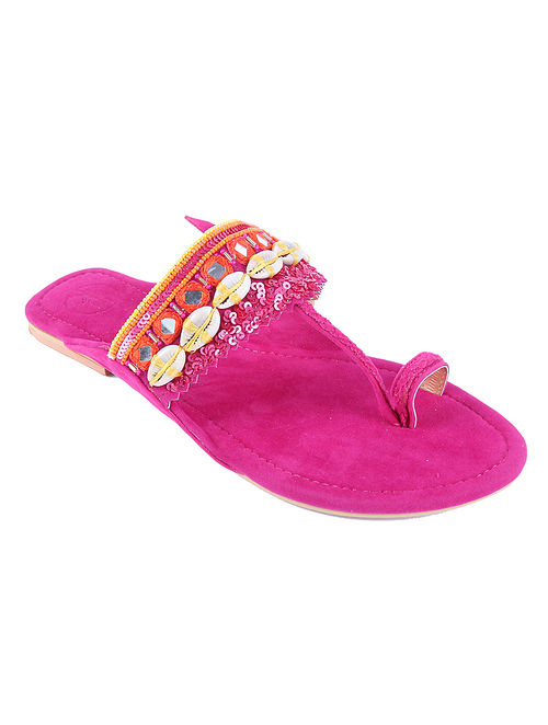 Pink Hand Embroidered Suede Kolhapuri Flats with Shells and Mirrors
