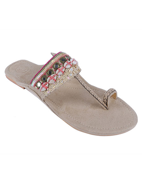 Beige Hand Embroidered Suede Kolhapuri Flats with Shells and Mirrors