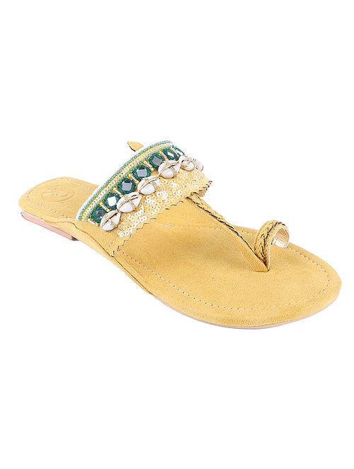 Yellow Hand Embroidered Suede Kolhapuri Flats with Shells and Mirrors