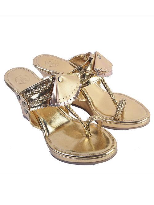 Gold Handcrafted Leather Kolhapuri Wedges