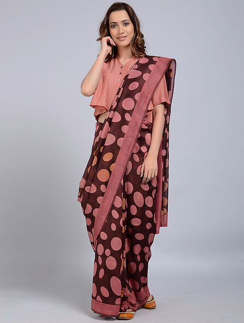 Maroon-Pink Printed Chanderi Saree