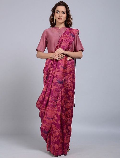 Magenta-Peach Printed Chanderi Saree