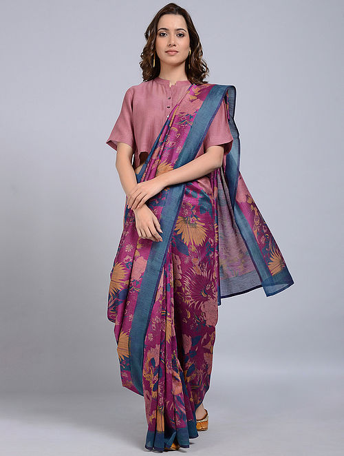 Pink-Teal Printed Chanderi Saree