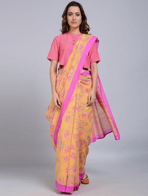 Yellow-Pink Printed Chanderi Saree