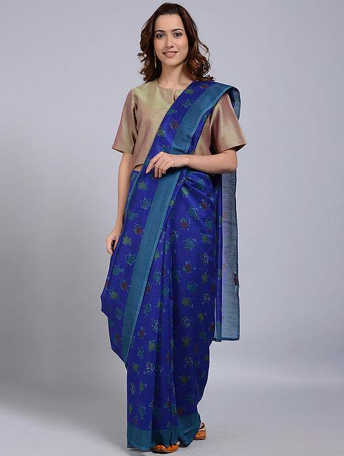 Blue Printed Chanderi Saree