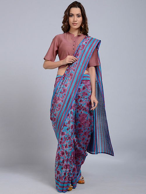 Blue-Red Printed Chanderi Saree