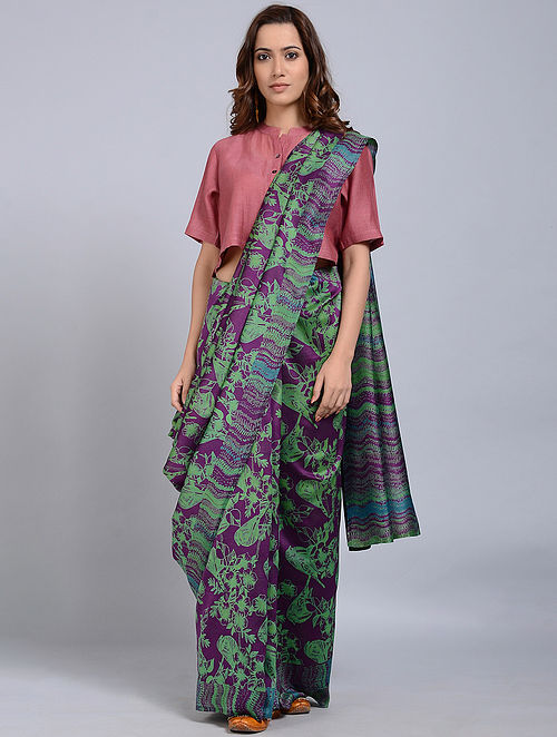 Green-Purple Printed Chanderi Saree