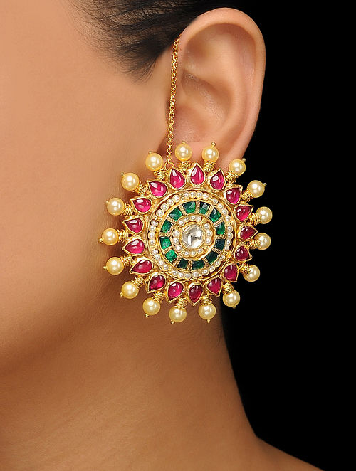 4807b13d9 Buy Red-Green Gold Tone Polki Stud Earrings Online at Jaypore.com