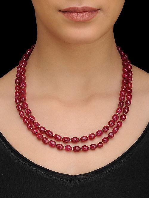 Red Gold Tone Quartz Necklace