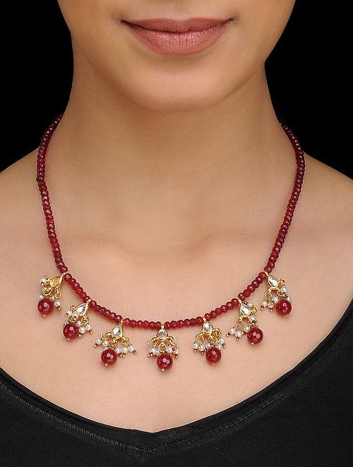 Red Kundan Inspired Quartz Necklace