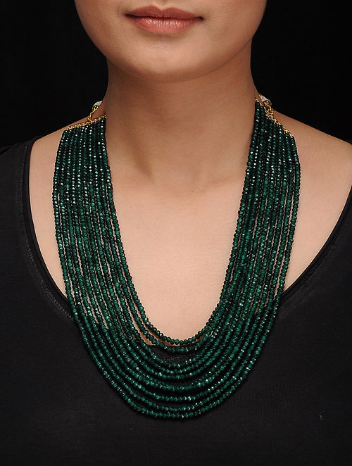 Green Gold Tone Jade Necklace