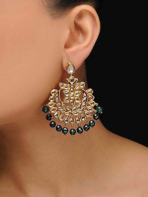 Green Gold Tone Kundan Inspired Jade Earrings