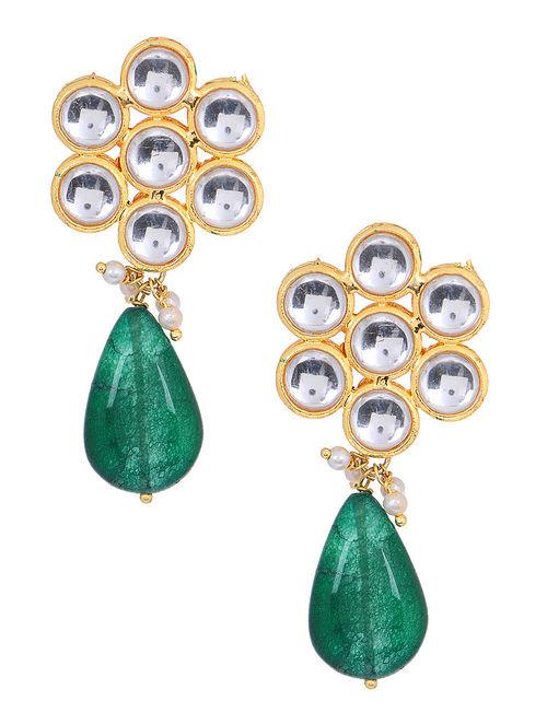 c7beb8aff Buy Green Gold Tone Kundan Inspired Jade Earrings Online at Jaypore.com